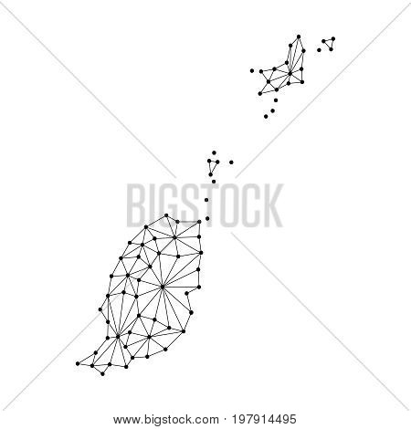 Grenada map of polygonal mosaic lines network rays and dots vector illustration.