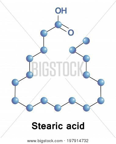 Stearic or octadecanoic is a saturated fatty acid. It is a waxy solid and its chemical formula is C17H35CO2H. Its salts and esters are called stearates.