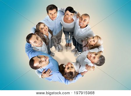 Group people hug fun white background isolated