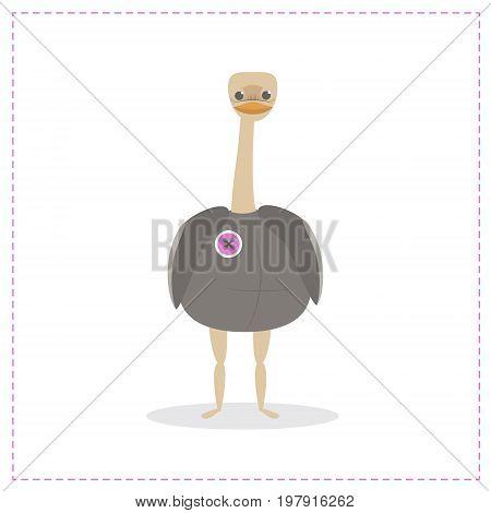 Ostrich bird funny ostrich vector, cute bird