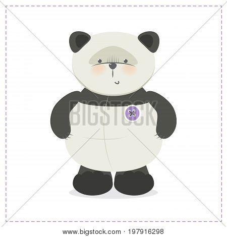 Panda little funny panda bear vector, cute