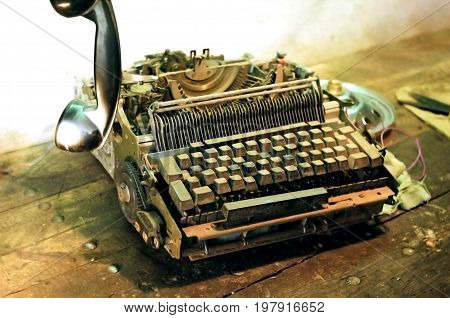 Photo of antique typewriter on the table close-up
