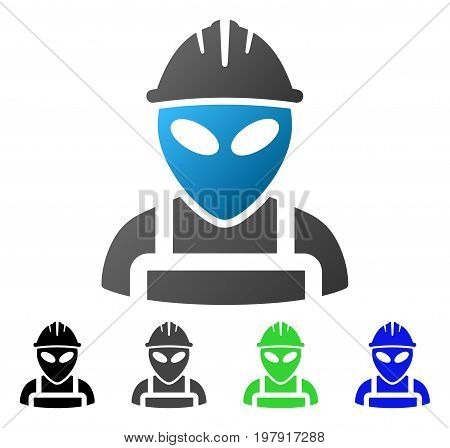 Alien Worker flat vector icon. Colored alien worker gradiented, gray, black, blue, green pictogram variants. Flat icon style for web design.