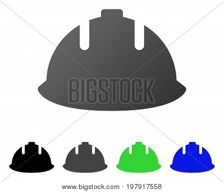 Builder Helmet flat vector illustration. Colored builder helmet gradiented, gray, black, blue, green pictogram versions. Flat icon style for graphic design.