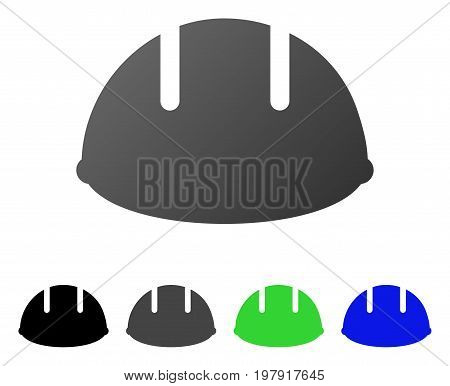 Builder Helmet flat vector illustration. Colored builder helmet gradient, gray, black, blue, green icon variants. Flat icon style for application design.