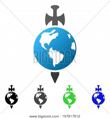Earth Guard flat vector icon. Colored Earth guard gradiented, gray, black, blue, green pictogram variants. Flat icon style for web design.