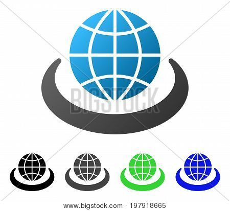 Global Network flat vector icon. Colored global network gradient, gray, black, blue, green pictogram variants. Flat icon style for application design.