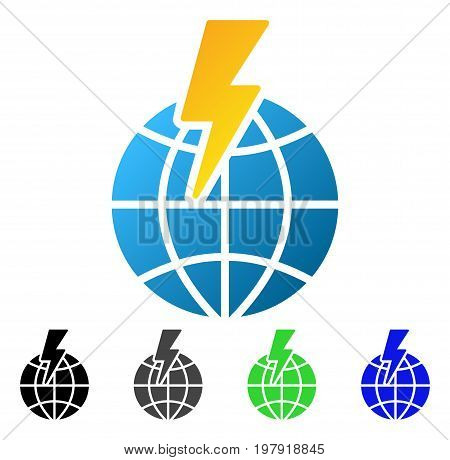Global Shock flat vector icon. Colored global shock gradiented, gray, black, blue, green pictogram versions. Flat icon style for graphic design.