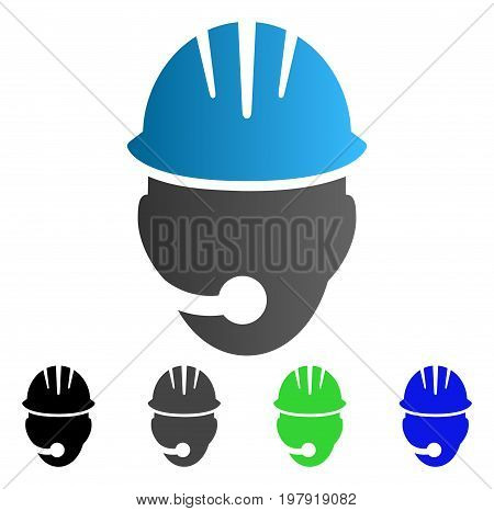 Industrial Operator flat vector illustration. Colored Industrial operator gradient, gray, black, blue, green icon versions. Flat icon style for graphic design.