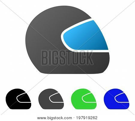 Motorcycle Helmet flat vector pictograph. Colored motorcycle helmet gradiented, gray, black, blue, green pictogram versions. Flat icon style for application design.
