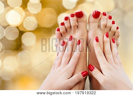 Red hands legs nails background person one