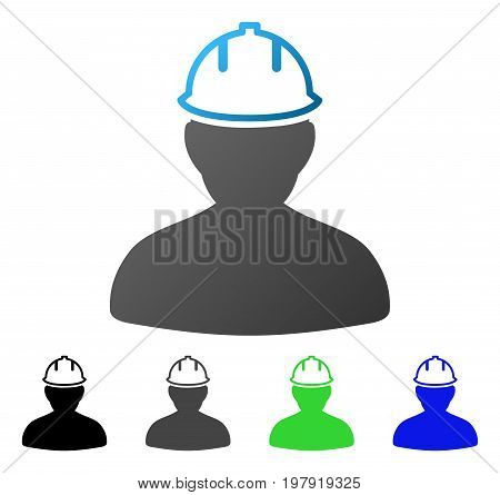 Person In Hardhat flat vector pictograph. Colored person in hardhat gradiented, gray, black, blue, green pictogram versions. Flat icon style for application design.