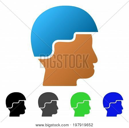 Soldier Helmet flat vector pictograph. Colored soldier helmet gradient, gray, black, blue, green icon versions. Flat icon style for web design.