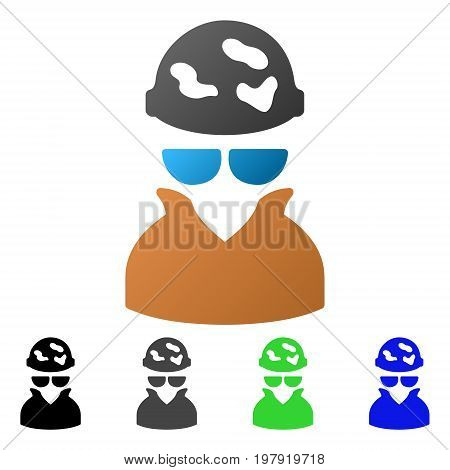 Spotted Spy flat vector pictograph. Colored spotted spy gradiented, gray, black, blue, green pictogram versions. Flat icon style for graphic design.