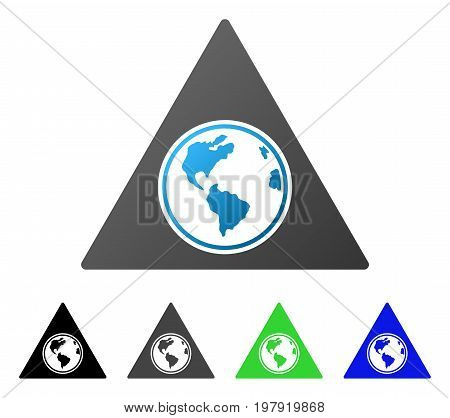Terra Triangle flat vector pictograph. Colored terra triangle gradiented, gray, black, blue, green icon variants. Flat icon style for application design.