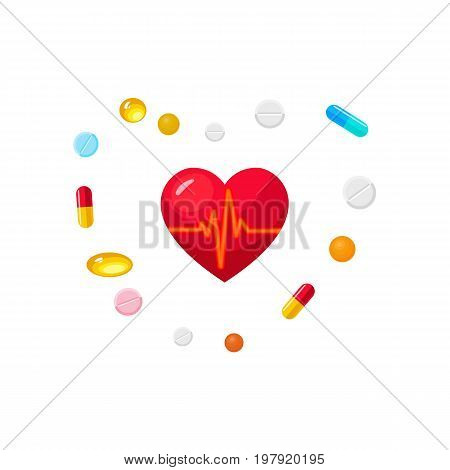 Vector realistic heart with pulse and pills and capsules set . Illustration isolated on a white background. First aid, ambulance, surgery medicine and drugs symbol. Sign of emergency health care