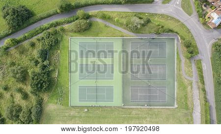 Aerial photo over artificial turf tennis courts