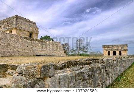 Governor's palace side view in Uxmal Mexico