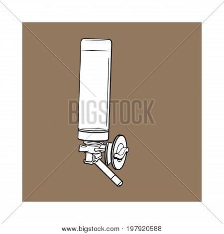 Automatic refillable drinker, can be attached to pet, cat, dog, parrot cage, crate wall, sketch vector illustration isolated on brown background. Refillable, attachable drinker for pets and birds