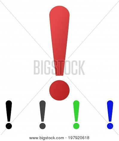 Exclamation Sign flat vector pictogram. Colored exclamation sign gradient, gray, black, blue, green pictogram variants. Flat icon style for graphic design.