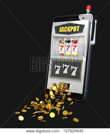 3D Illustration Of Slot Machine With Coins. Concept Casino Jackpot