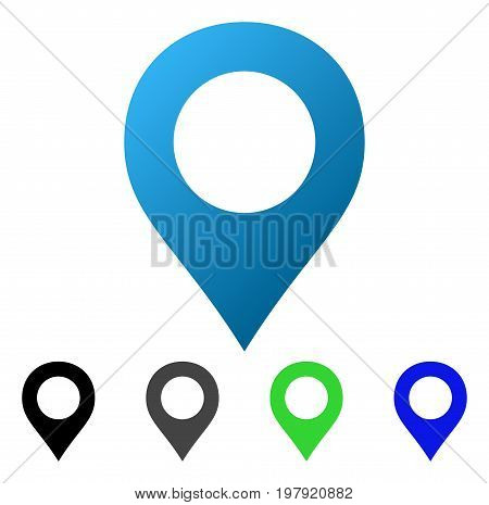 Map Marker flat vector illustration. Colored map marker gradiented, gray, black, blue, green pictogram variants. Flat icon style for web design.