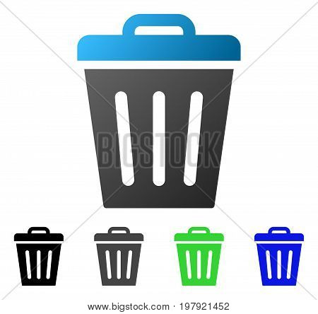 Trash Can flat vector illustration. Colored trash can gradiented, gray, black, blue, green icon versions. Flat icon style for web design.