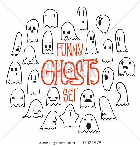 Big set of cartoon spooky scary ghosts character, hand-drawn ghosts with various expressions, funny night symbol for halloween celebration, round frame, isolated, EPS 8