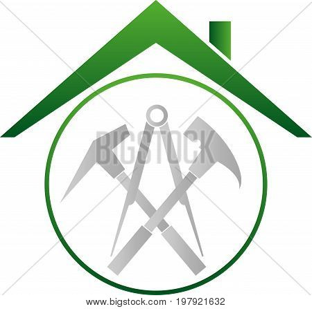 Roofing tools and roof, roofing and tools logo