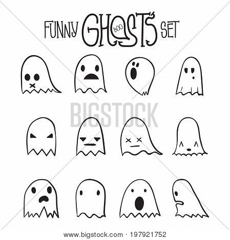 Set of twelve cartoon spooky scary ghosts character, hand-drawn linear ghosts with various expressions, fine night symbol for halloween celebration, isolated, EPS 8