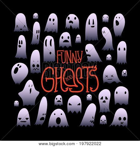 Big set of cartoon spooky scary ghosts character, hand-drawn ghosts with various expressions, funny night symbol for halloween celebration, isolated, EPS 10
