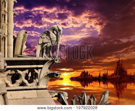 Beautiful fantasy landscape with sunset on ocean, high mountains, storm sky, and old stone statue of pelican