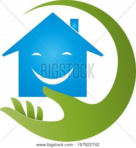Hand and house, real estate and real estate agent logo