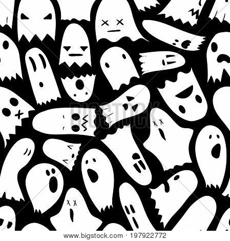 Seamless black and white Halloween pattern, hand-drawn ghosts pattern with funny expressions, halloween characters in cartoons style, EPS 8