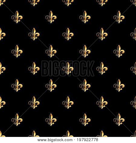 Golden fleur-de-lis seamless pattern. Gold template. Floral classic texture. Fleur de lis royal lily retro background. Design vintage for card, wallpaper, wrapping, textile.