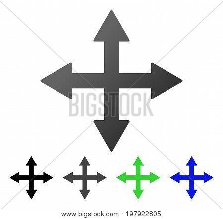 Quadro Arrows flat vector illustration. Colored quadro arrows gradient, gray, black, blue, green pictogram versions. Flat icon style for web design.