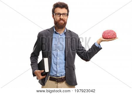 Teacher holding a brain model isolated on white background
