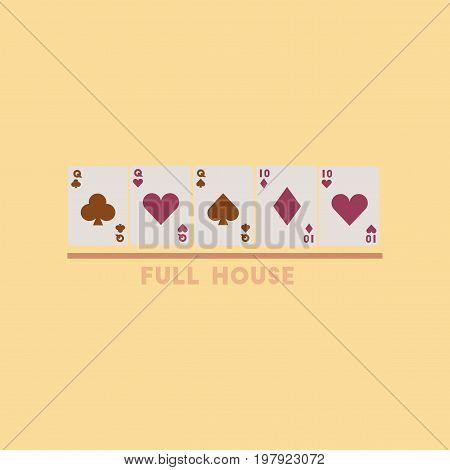 flat icon on stylish background poker full house