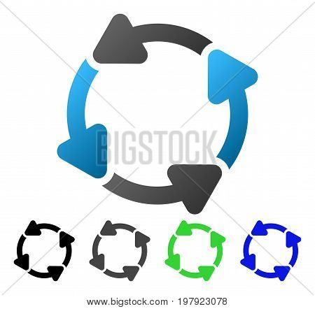 Rotate CW flat vector pictograph. Colored rotate cw gradiented, gray, black, blue, green pictogram versions. Flat icon style for graphic design.