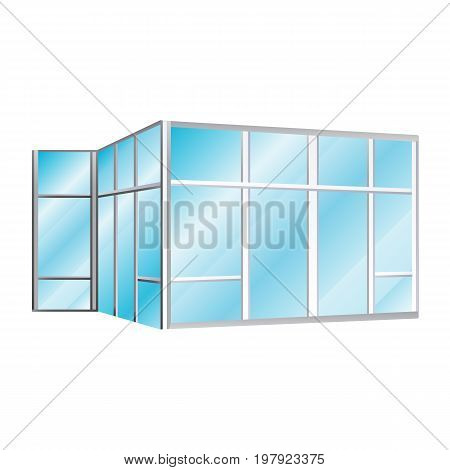 icon glazed office partitions in the room vector illustration