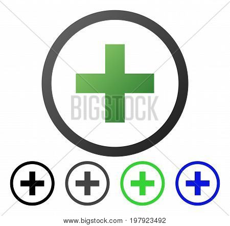 Add flat vector pictograph. Colored add gradiented, gray, black, blue, green pictogram versions. Flat icon style for application design.