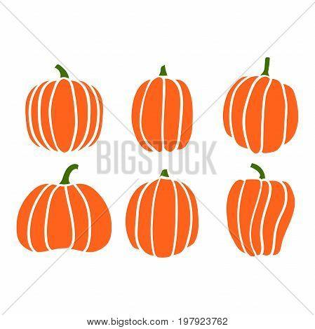 Autumn collection of pumpkin, orange halloween pumpkin set, EPS 8