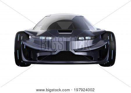 Car concept dark modern fast supercar, front view. 3D rendering