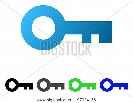 Key flat vector pictograph. Colored key gradient, gray, black, blue, green pictogram versions. Flat icon style for graphic design.