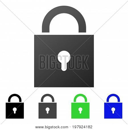 Lock flat vector illustration. Colored lock gradient, gray, black, blue, green icon versions. Flat icon style for application design.