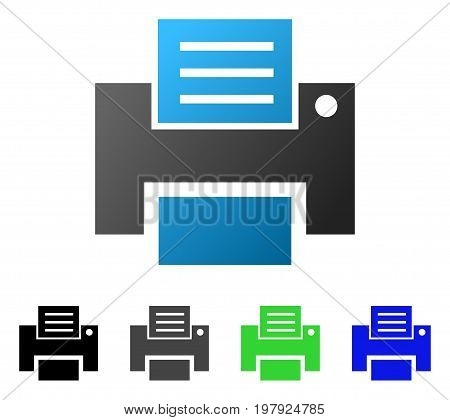 Print File flat vector pictograph. Colored print file gradiented, gray, black, blue, green icon versions. Flat icon style for graphic design.