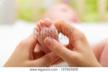Hands foot baby mother white small shape