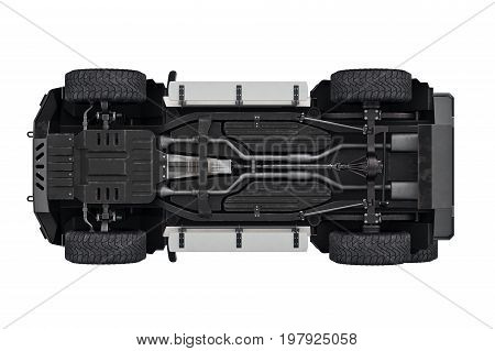 Suv car transport 4wd suspension, bottom view. 3D rendering