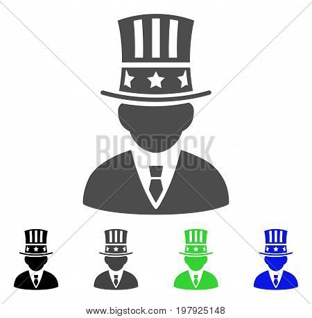 American Capitalist flat vector icon. Colored american capitalist, gray, black, blue, green icon versions. Flat icon style for graphic design.