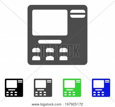 ATM Device flat vector pictograph. Colored ATM device, gray, black, blue, green pictogram versions. Flat icon style for application design.